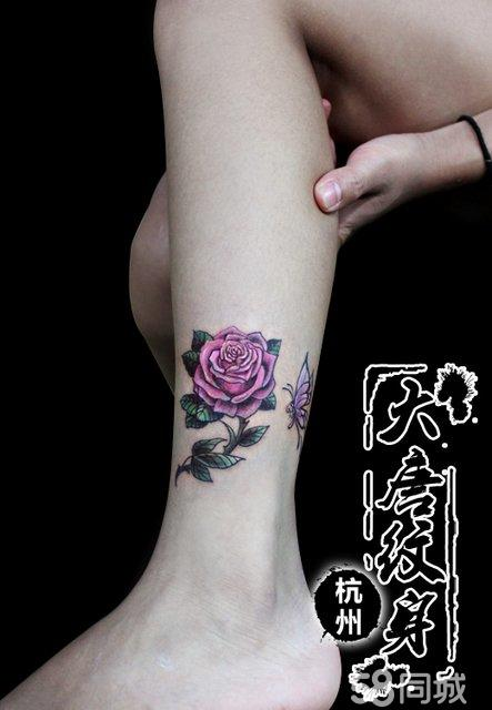 小腿纹身 玫瑰花纹身 纹身图案图片