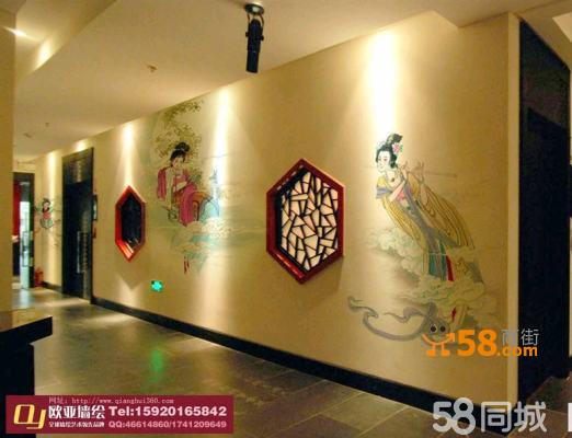 工笔重彩写实仕女手绘壁画—58商家店铺